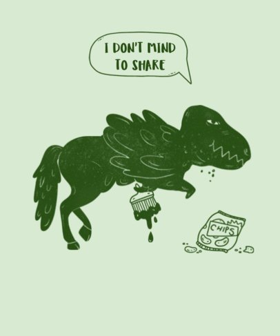 T-Shirt Template with T-Rex Illustration 421c