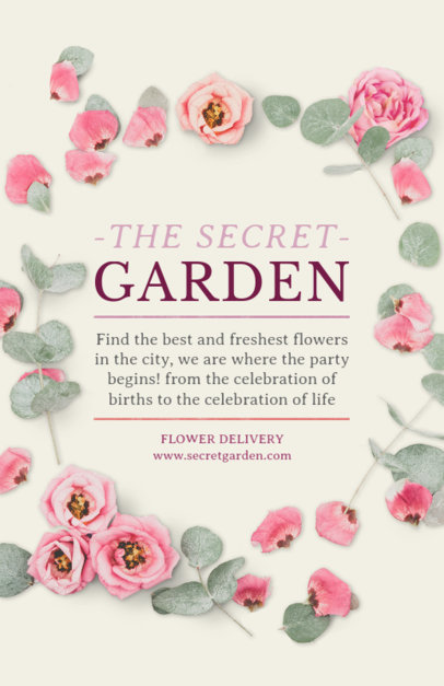 Flyer Maker for Flower Shops with Pink Flowers Background #434d