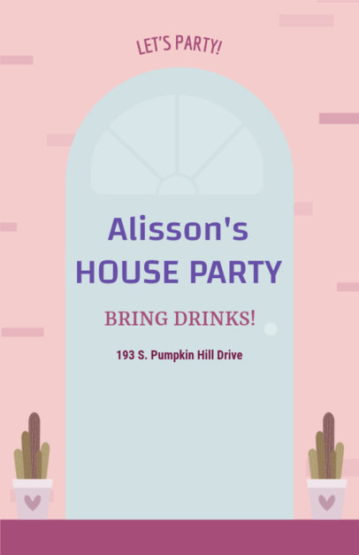 Flyer Maker for House Parties with Illustrated Design 340e