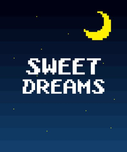 Moon T-Shirt Design Template with 8-Bit Graphics 38c
