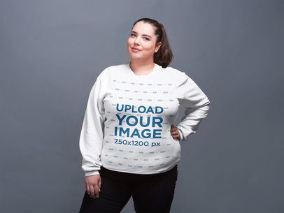 Plus Size Crewneck Sweater Mockup Featuring a White Girl Posing 21027