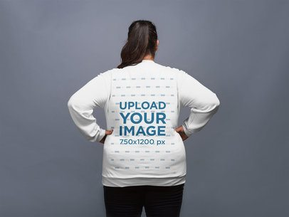 Back Shot of a Plus Size Crewneck Sweatshirt Mock-Up Featuring a Woman 21028