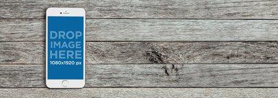 White iPhone 6 Over Grey Wood Background Mockup