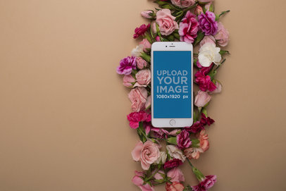 iPhone Mockup Lying on Flower Heads 21756
