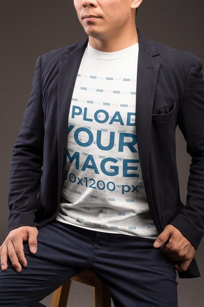 Closeup T-Shirt Mockup of a Man Wearing a Casual Suit 21238