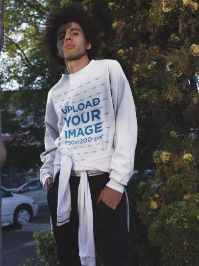 Sweater Mockup of a Young Man with an Arrogant Look 18335