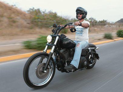 T-Shirt Mockup of a Biker Riding his Motorcycle 20255