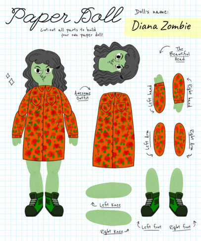 Zombie Paper Doll Tee Design Maker 482e