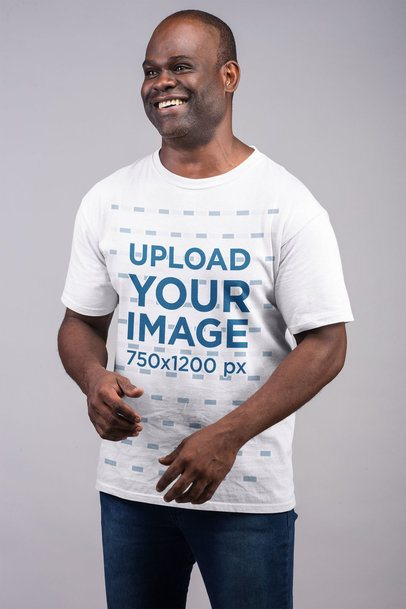 T-Shirt Mockup Featuring a Tall Man Smiling 21461