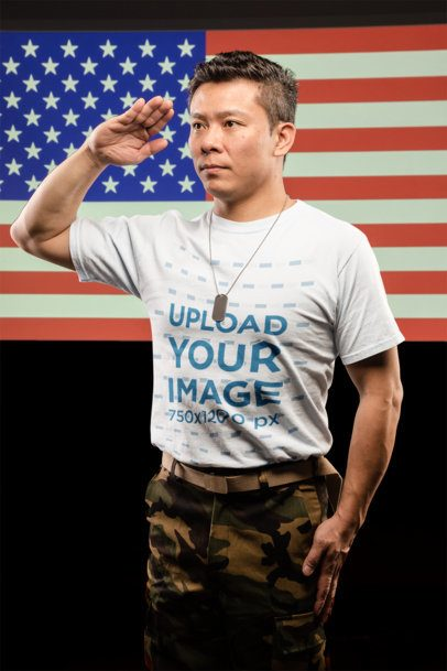 T-Shirt Mockup of a Veteran Saluting the American Flag 21251