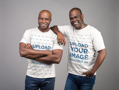 T-Shirt Mockup Featuring Two Men Smiling at the Camera 21464