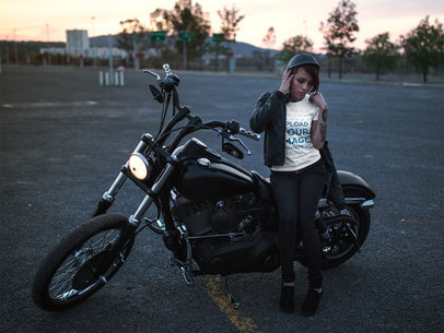 Tshirt Mockup of a Biker Girl Leaning Against her Chopper 20256