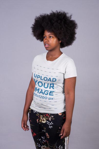 Mockup of a Woman Wearing a T-Shirt and Cool Sweatpants 21719