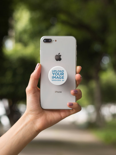 PopSocket Grip Mockup Held by a Woman's Arm 22065