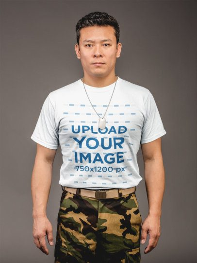 Front Shot T-Shirt Mockup Featuring a Veteran Soldier 21255