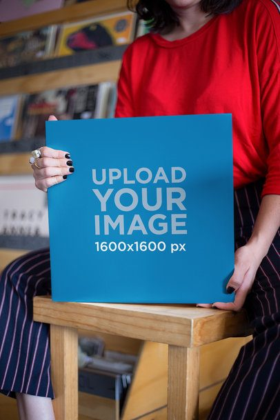 Vinyl Record Mockup Held by a Woman 22106