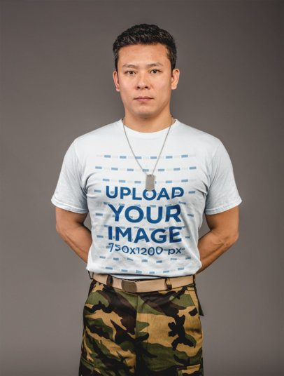 Tshirt Mockup of a Serious Man with Military Clothing 21258