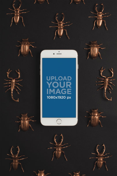 Mockup of a Silver iPhone 8 Plus Surrounded by Copper Insects 22187