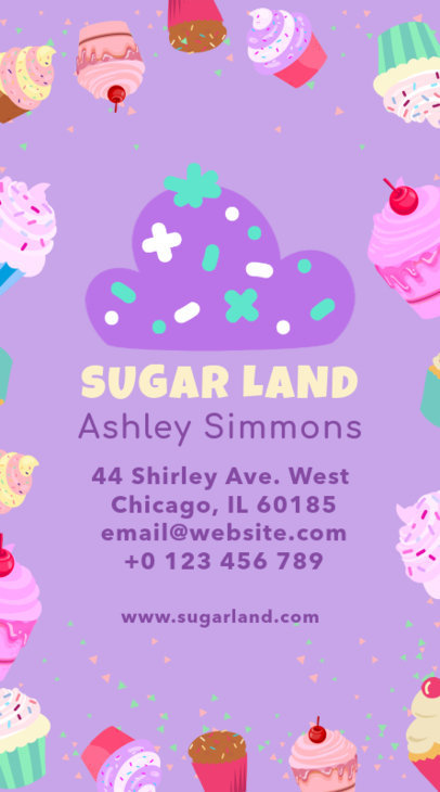 Vertical Business Card Template for Confectionery Shops 495