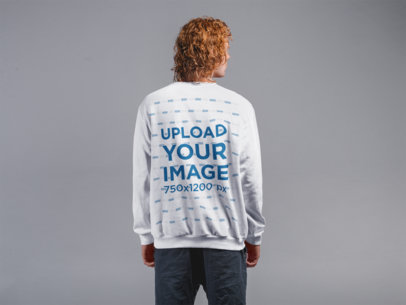 Back Shot Sweatshirt Mockup of a Man with Red Hair 21190