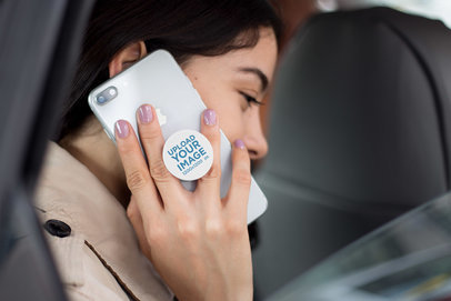 Phone Grip Mockup Featuring a Woman Calling with an iPhone 8 Inside a Car  22079