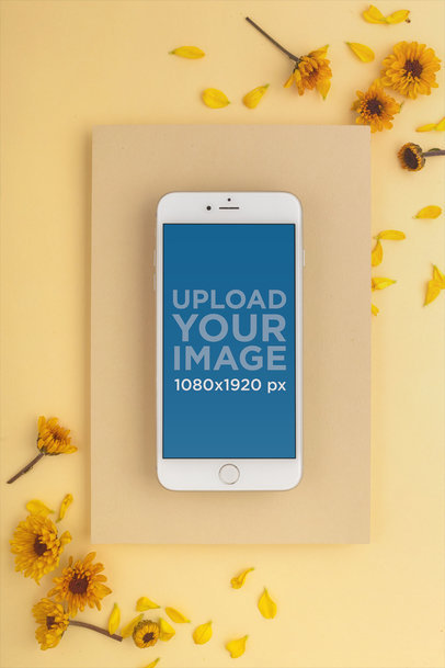 Silver iPhone 8 Mockup Surrounded by Yellow Tones 22014