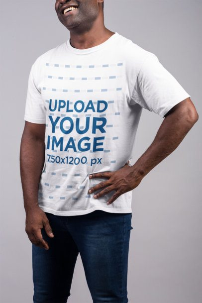 Crew-Neck Tee Mockup Featuring a Senior Man Laughing Against Flat Background 21489