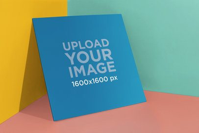 Vinyl Record Cover Mockup Leaning on Solid Walls 22005