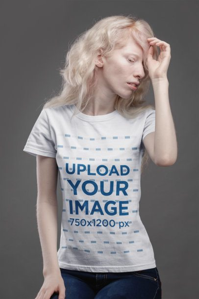 T-Shirt Mockup Featuring a Woman with Light Blonde Hair 21876