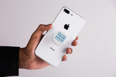 Mockup Featuring a Male Hand Showing an iPhone with a Phone Grip 22157