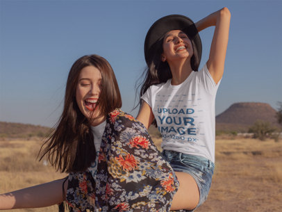 T-Shirt Mockup Featuring Two Very Happy Women 18882