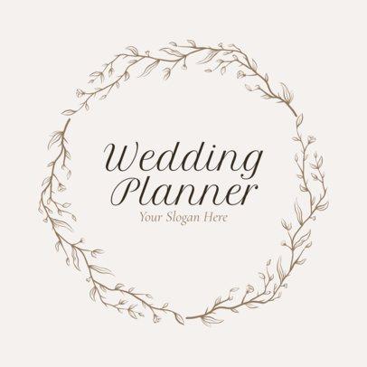 Wedding Planner Logo Maker with Leaf Icons - 1379
