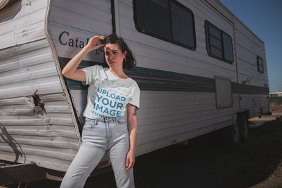 T-Shirt Mockup of a Woman Standing in Front of an RV Living the Van Life 20018