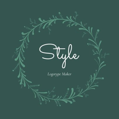 Vintage Style Clothing Store Logo Maker with Plants Clipart 1084c