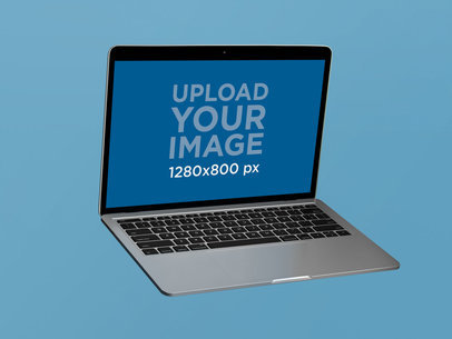 Angled MacBook Pro Mockup Floating on a Flat Surface 22364