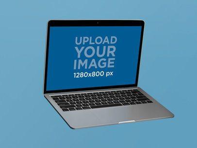 Angled MacBook Pro Mockup Floating on a Flat Surface 22364