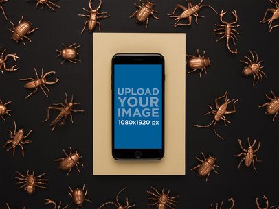 iPhone 8 Mockup Lying on a Metallic Insect Pattern Background 22186