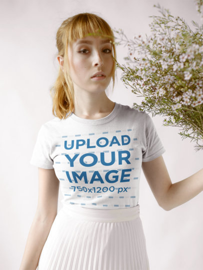Mockup of a Woman Wearing a T-Shirt and a Pleated White Skirt 18359