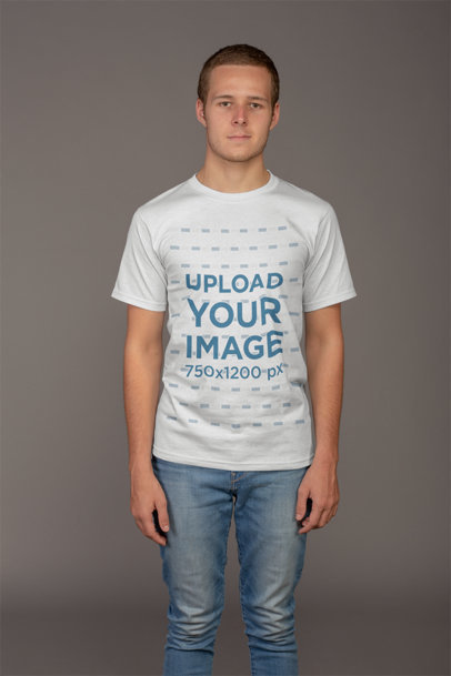 Mockup of a Man Wearing a T-Shirt and a Buzz Cut 21136