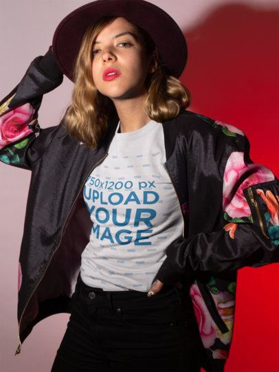 T-Shirt Mockup Featuring a Woman Bomber Jacket 18598