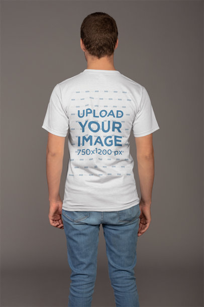 Plain Back Shot T-Shirt Mockup of a Man 21138