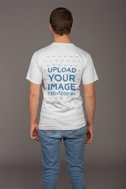 Plain Back Shot T-Shirt Mockup of a Man 21138