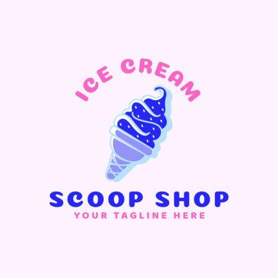 Ice Cream Store Logo Maker with Ice Cream Cone Icon 1400e