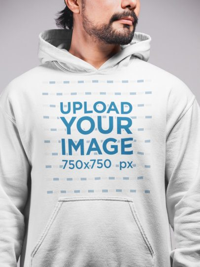 Hoodie Mockup Featuring a Man with a Beard 21659