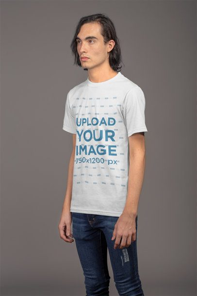 T-Shirt Mockup Featuring a Man with Sharp Features 21146