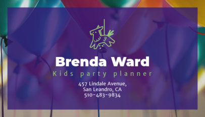 Kids' Party Planner Business Card Maker 85d