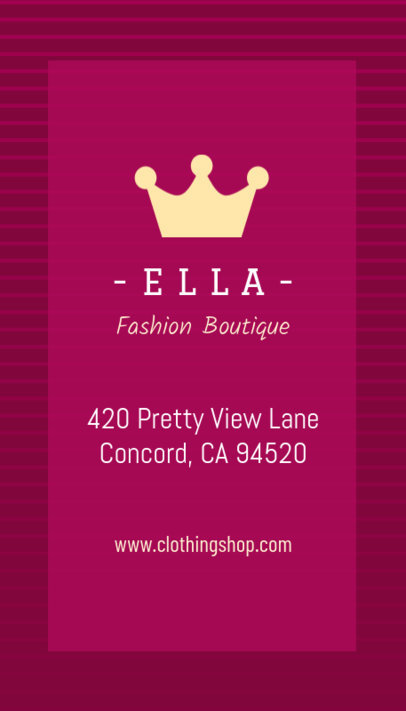 Fashion Boutique Vertical Business Card Creator 553c--1762