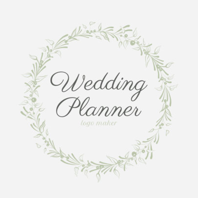 Wedding Planner Logo Template with Circle Leaf Border 1379a