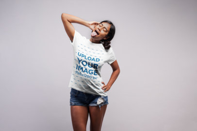 T-Shirt Mockup of a Woman With Her Tongue Sticking Out 21538