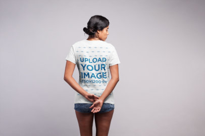 Backshot T-Shirt Mockup of a Woman With Messy Buns 21539